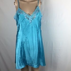 Fredericks OF Hollywood Short Nightgown Blue L👍